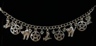 pentagram, witch and cat bracelet