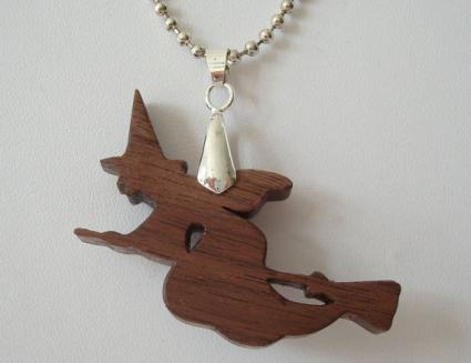 walnut witch pendant necklace
