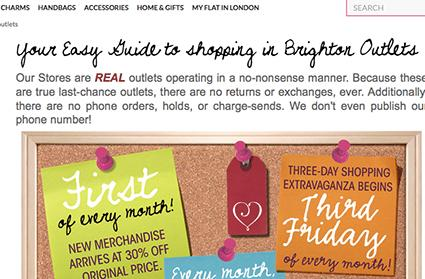 Screenshot of Brighton website outlets page