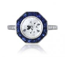 Platinum ring with blue sapphire octagon
