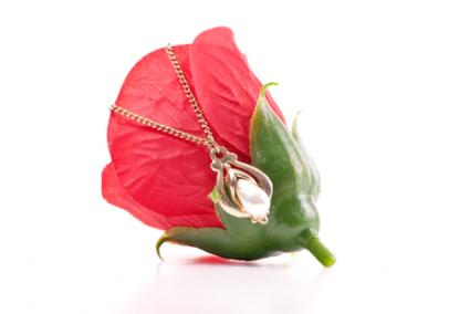 Memorial tear pearl pendant and rose