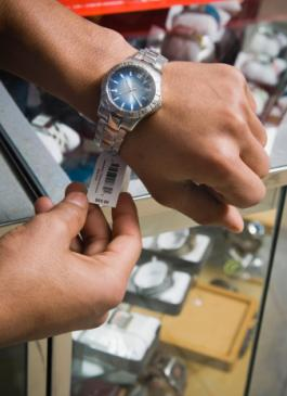 Man shopping for a wristwatch