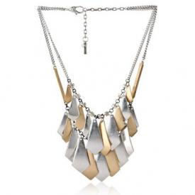 Kenneth Cole New York Mixed Metal Geometric 2 Row Necklace