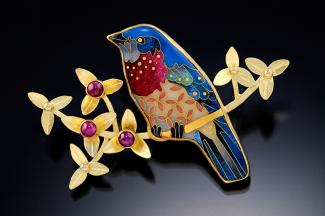 Cloisonne bluebird brooch by Michael Romanik