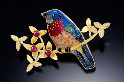 Cloisonne bluebird brooch by Michael Romanik