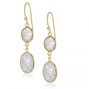 Rainbow Moonstone Bead Drop Earrings