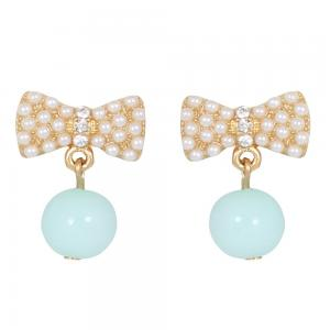 Le Pee Princess Turquoise Bow Drop Clip On Earrings