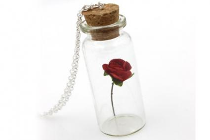 Bella Rose in a Glass Vial Necklace