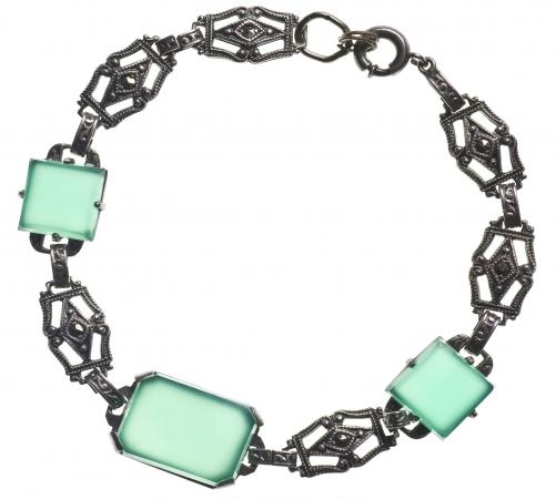 Marcasite antique bracelet with green stones