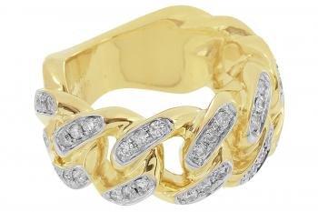 Master Of Bling Miami Cuban Link Ring 10K Real Gold Genuine 1CT Diamonds