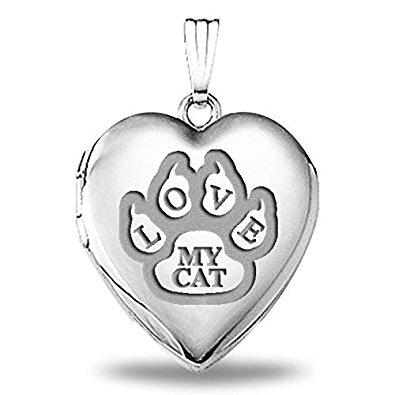 Love My Cat Paw Print Locket