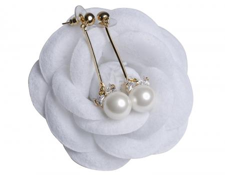 MISASHA Celebrity Designer Faux Imitation Pearl Bowtie Studs Earrings