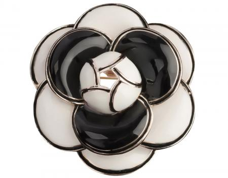 MISASHA Camellia Black Fashion Brooch Pin