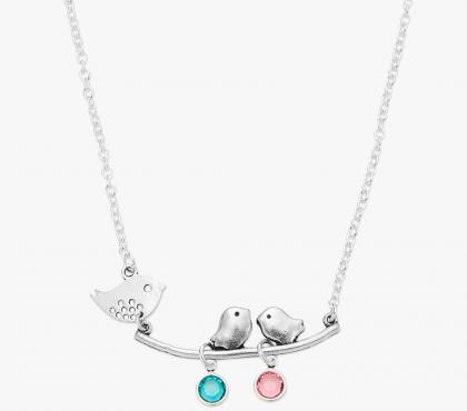 Mother Bird Necklace with Swarovski Birthstones