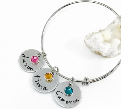 Personalized Mothers Bangle Bracelet with Birthstone Charms and Names