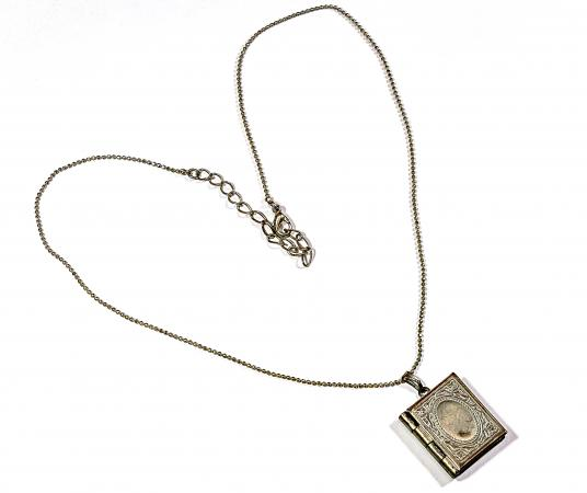 silver book locket on heart chain