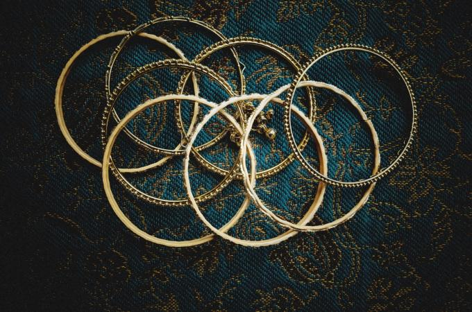 Selection of gold bangles
