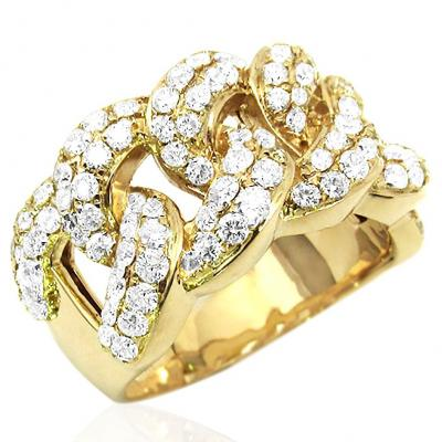 14k Yellow Gold Cuban Link Ring W/ Round Brilliant Diamonds