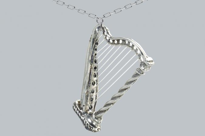 White Gold Harp Necklace