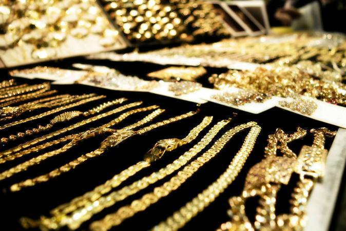 Gold Jewelry At Store For Sale