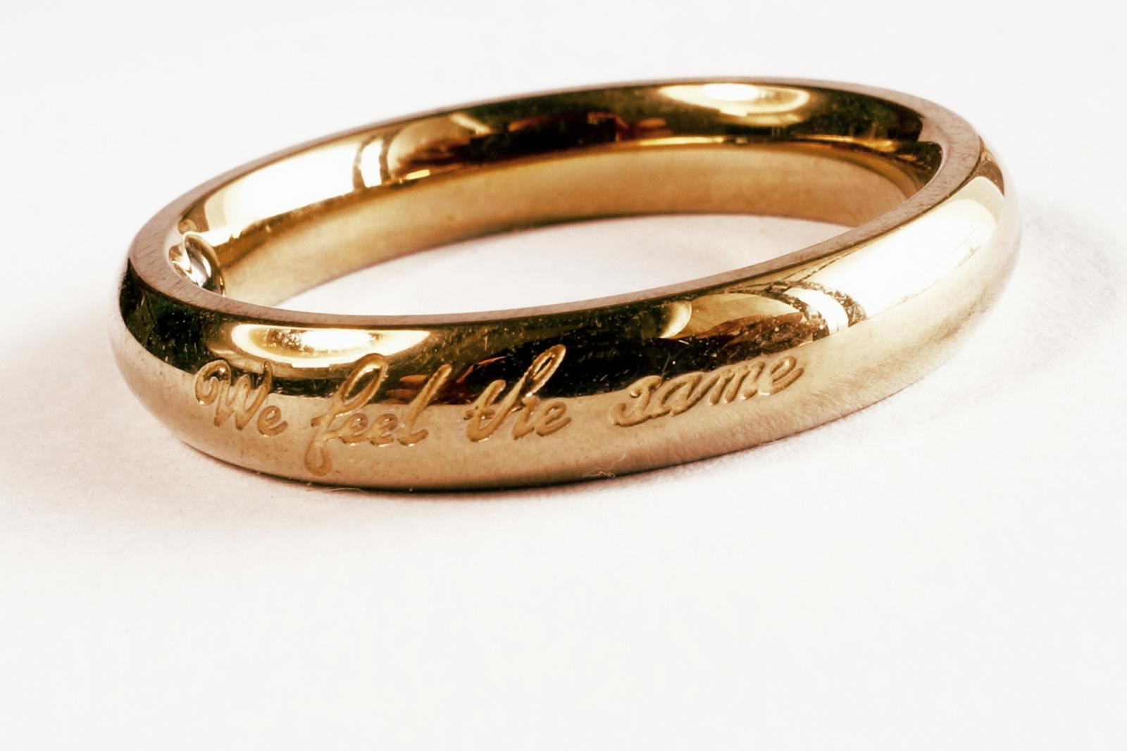 Wedding ring with inscription