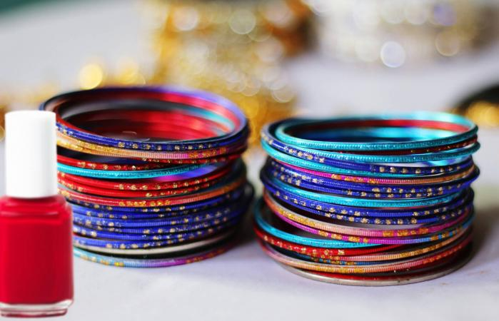 Stacked Colorful Bangles On Table