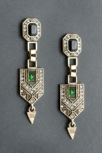 Gold earrings - style of art deco