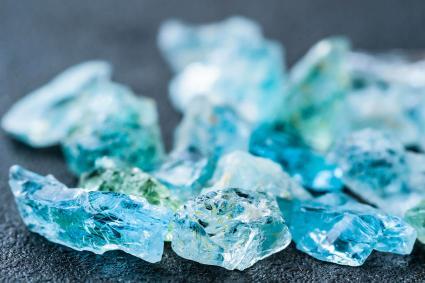 uncut aquamarine gemstones