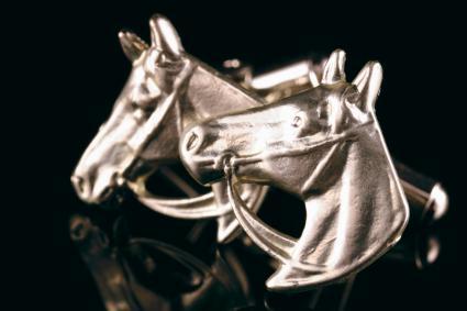 Silver horse head cufflinks