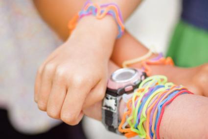 Girls with jelly bracelets