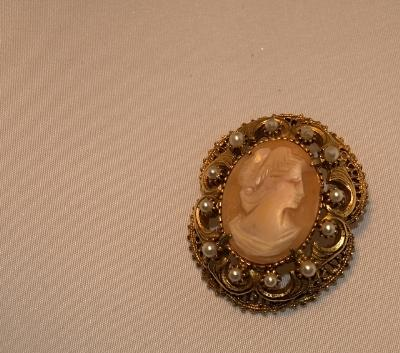 Image of a vintage cameo broach