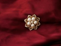 Vintage Pearl Flower Brooches