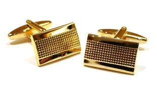 Pair of rectangular gold cuff links