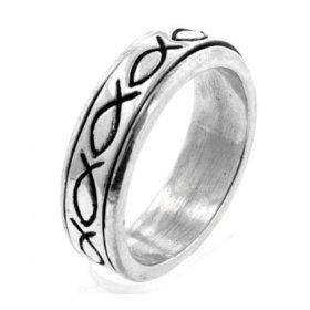 silver christian fish ring