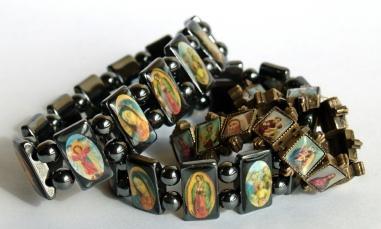Wooden Saints Charm Prayer Bracelets