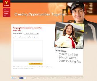 McDonald's job search screen