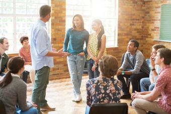 Therapist leading group