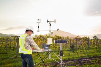 Agronomist using computer to collect data with meteorological instrument to measure the wind speed