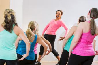 Dance fitness instructor leading class