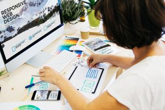 Woman designing website