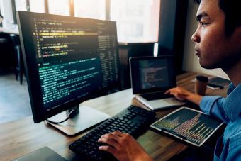 Computer analyst at work