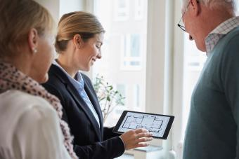 Real estate appraiser working with clients