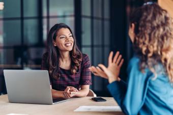 Businesswomen talking in the office