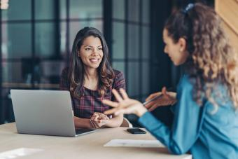 Woman at internal job interview