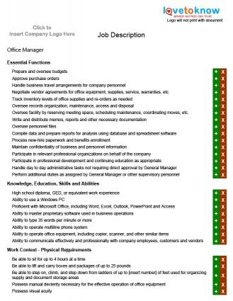 Examples of job description for a manager lovetoknow - Office manager assistant job description ...