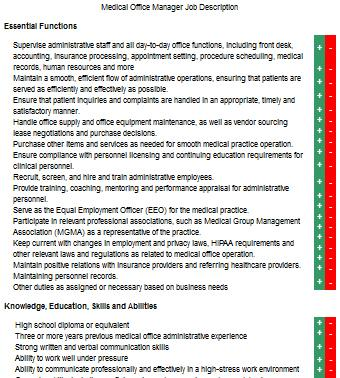 medical office manager job descriptions