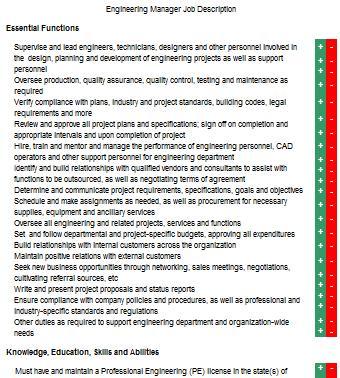 Engineering manager job description