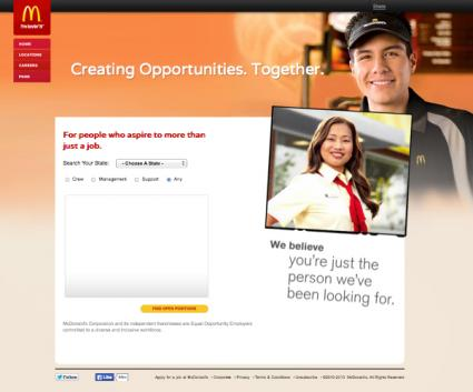 McDonald's job search screen