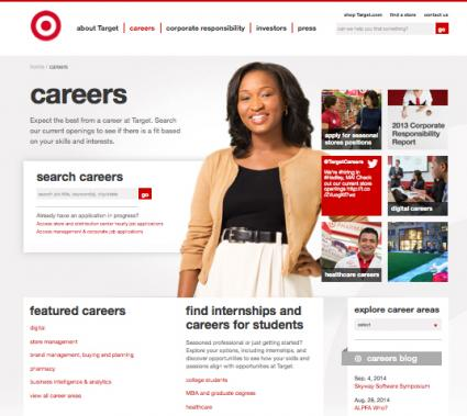 Target job search screen