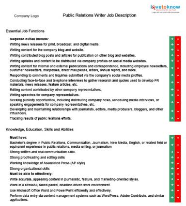 Public Relations Writer Job Descriptions